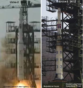 A comparison of the Unha-2 launched in 2009 and the Unha-3. They look almost identical.